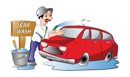 autolavado: Hombre que se lava un coche rojo, ilustración