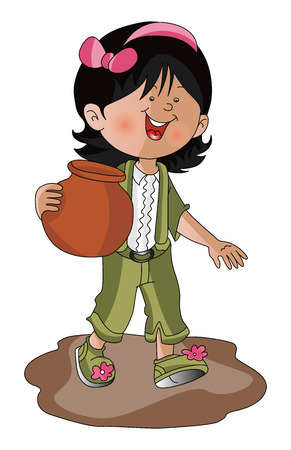 earthen: Vector illustration of happy girl carrying earthen pot. Illustration