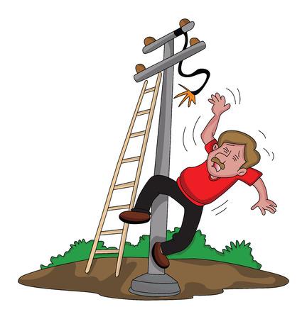 descarga electrica: Ilustración vectorial de electricista cayendo de escalera después de una descarga eléctrica.