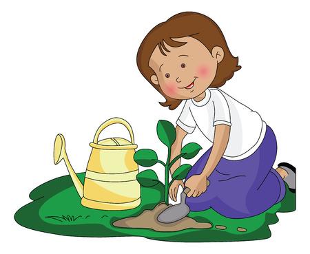 Vector illustration of girl planting a small plant at garden. Vettoriali