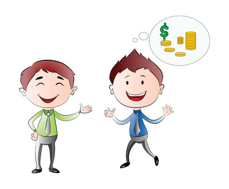 financial success: Young Businessmen Thinking of Financial Success, vector illustration