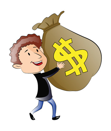 man holding money: Young Man Holding a Sack of Money, illustration