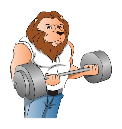 Half-man Half-lion Bodybuilder Lifting a Barbell, vector illustration Ilustrace