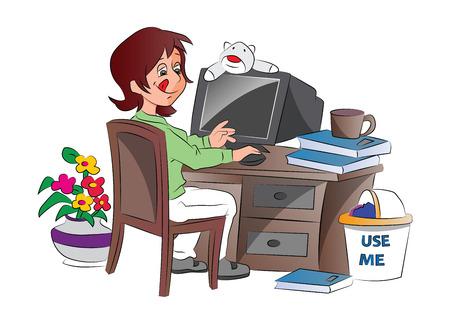 Young Woman Working from Home, illustration Vektoros illusztráció