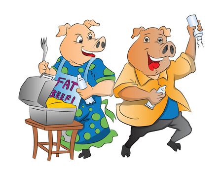 instinct: Two Pigs with Lunch Box and Whipped Cream, illustration