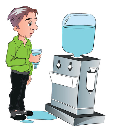 purified: Illustration of man drinking water from cooler at office Illustration