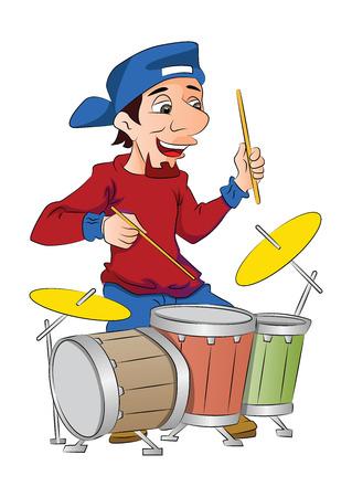 beating: Man Playing Drums, illustration