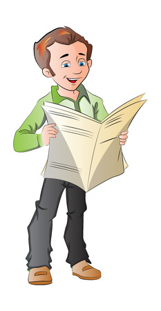 happening: Young Man Reading a Newspaper, illustration