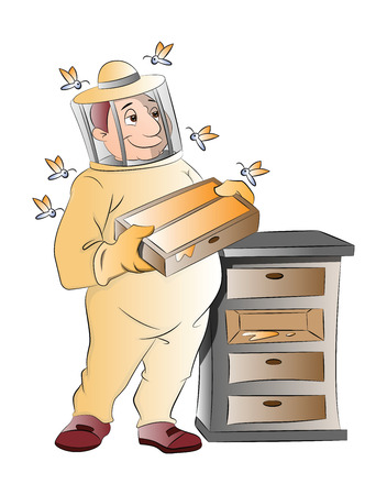 apiculture: Beekeeper, vector illustration