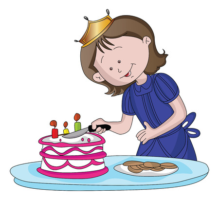 Vector illustration of cute girl cutting the cake. 矢量图像