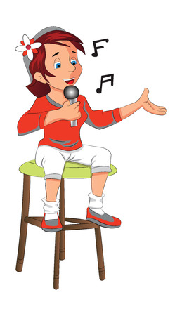 seated: Girl Seated Singing, vector illustration