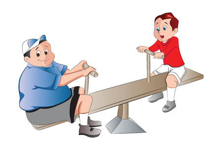 Two Boys Playing on a Seesaw, vector illustration