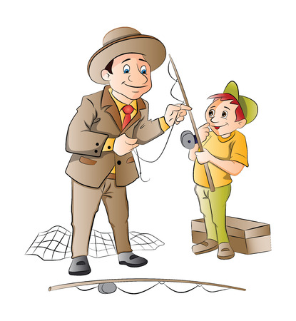 angling rod: Man Teaching a Boy How to Fish, illustration