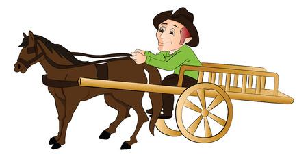 Vector illustration of a man riding a horse drawn cart.