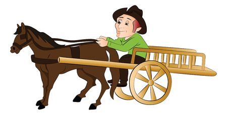 Vector illustration of a man riding a horse drawn cart.