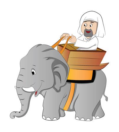 east riding: Elephant Ride, vector illustration
