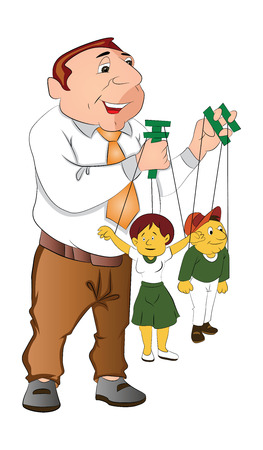 Puppeteer Holding Puppets, vector illustration Illustration
