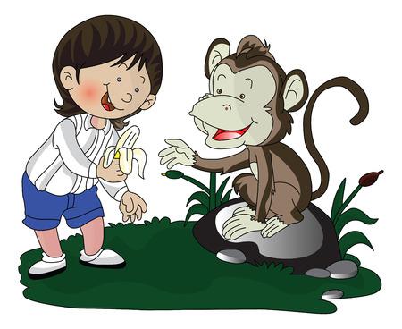 peeled: Vector illustration of a smiling girl giving peeled banana to monkey. Illustration