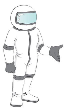 Vector illustration of astronaut in spacesuit. Vectores