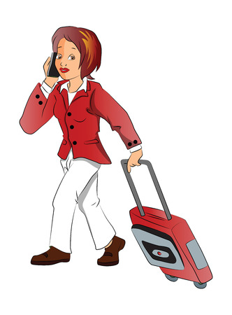 cellphone: Vector Illustration of businesswoman talking on cellphone while pulling her luggage, isolated on white background. Illustration