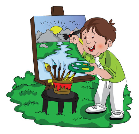 Vector illustration of a smiling artist painting outdoors. 向量圖像