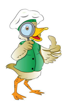 investigate: Duck Looking Through a Magnifying Glass, vector illustration