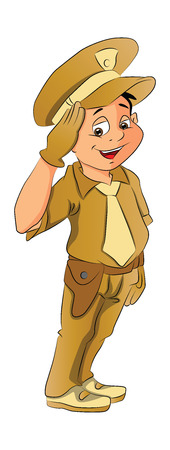 Boy in Police Uniform, vector illustration
