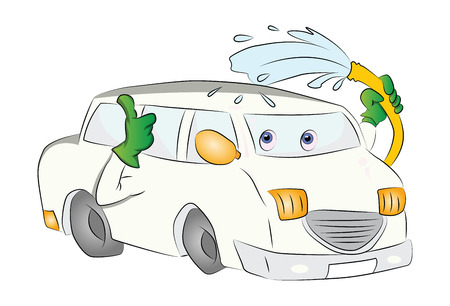 Car Washing Itself, vector illustration