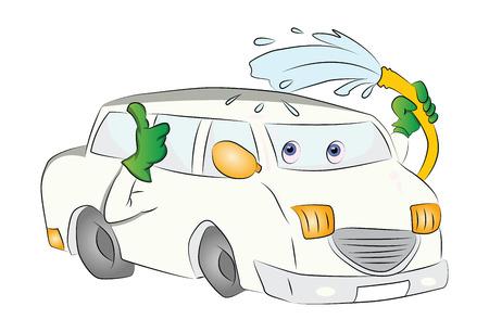 Car Washing Itself, vector illustration