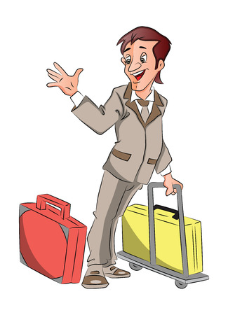 Vector of man going for business trip with luggage, waving goodbye. Vektorové ilustrace