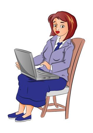 using laptop: Illustrazione vettoriale di un triste affari con laptop sulla sedia.