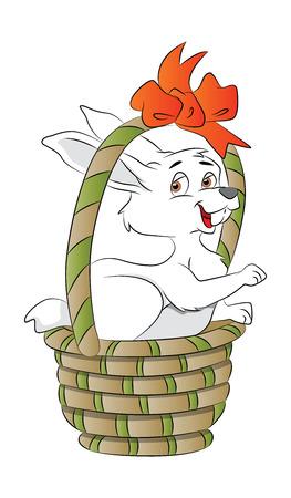 instinct: Bunny in a Basket, vector illustration