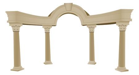 roman column: A vectorized 3D Greek arch and columns, lots of details Illustration