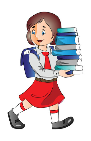 Vector illustration of a cute little schoolgirl carrying stack of books.
