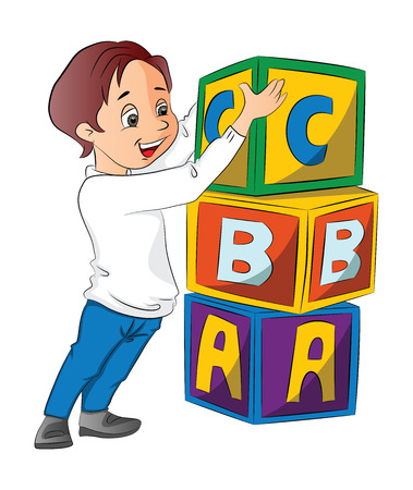 Boy Stacking Alphabet Blocks, vector illustration