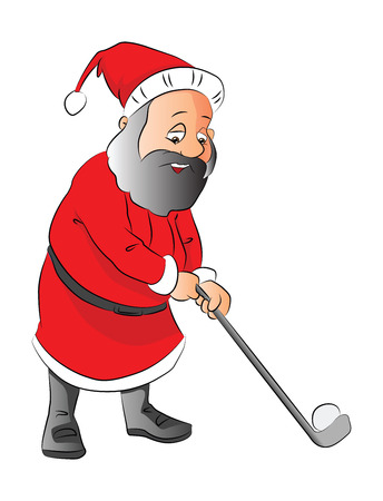 Vector illustration of a santa claus playing golf, isolated on white background. Vector
