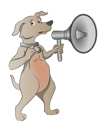 Dog with Megaphone, illustration