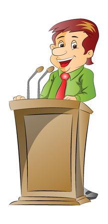 Vector illustration of a cheerful businessman giving presentation at a podium. Vector