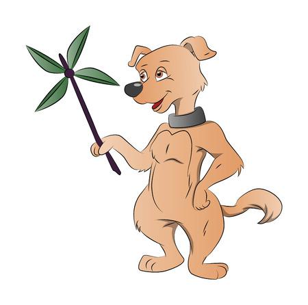 obedecer: Perro que sostiene un Molino de Papel, ilustración vectorial