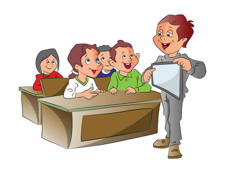 using tablet: Boy Teaching Using a Tablet PC, vector illustration