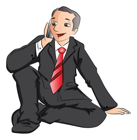 Vector illustration of happy businessman talking on cellphone. Vector