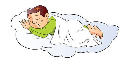 Vector illustration of a cute little boy sleeping.