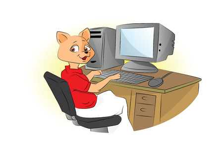 Cat Using a Computer, vector illustration