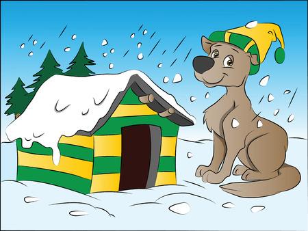 obedecer: Perro en invierno, ilustración vectorial
