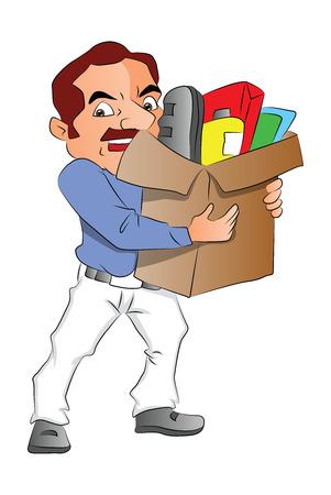carrying box: Ilustraci�n del vector del hombre que lleva una caja de cart�n llena de suministros de oficina. Vectores