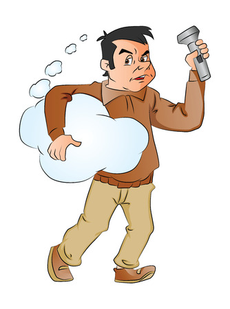 Vector illustration of a man holding blue  thought cloud and flashlight. Illusztráció