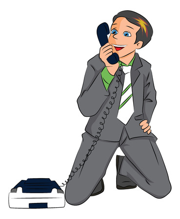 Vector of happily surprised businessman holding telephone receiver. Vector
