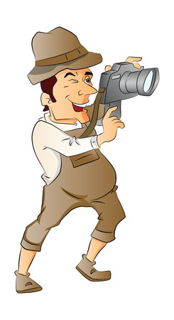 taking picture: Vector illustration of male photographer taking picture with digital camera.