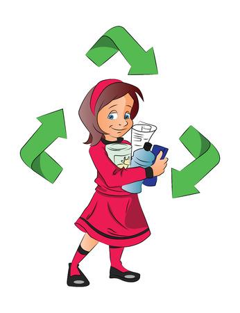 logo recyclage: Vector illustration d'une jeune fille tenant des bouteilles en plastique pour le recyclage.