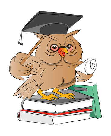 smart: Smart Owl Graduate with Cap Books and Diploma , vector illustration